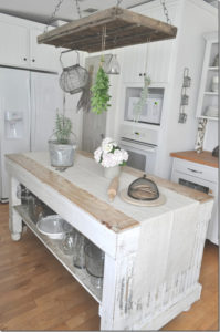 Grey Pantry Door and Open Shelf Island