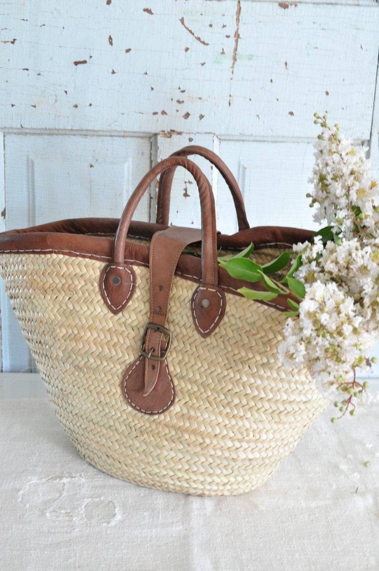 Flower Baskets By Becky : French market basket leather buckle becky s farmhouse