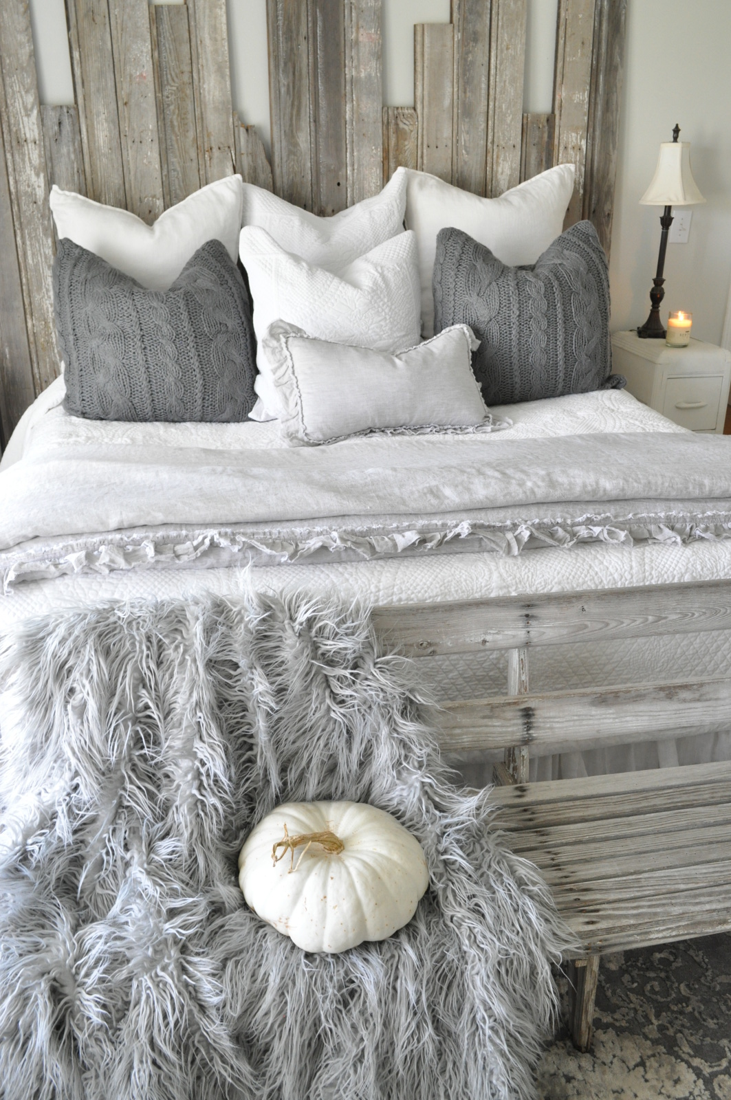 I Chose Pretty Whites And Grays To Coordinate With Our Master Bedroom Colors Walls Are Silver Drop By BEHR Headboard Is Constructed Of Reclaimed